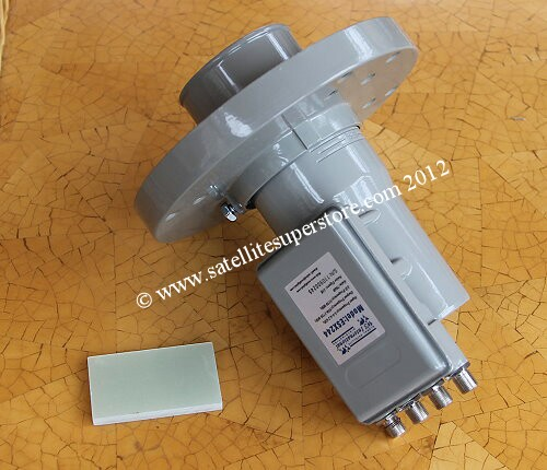 Quad C Band voltage switching LNB with feedhorn.
