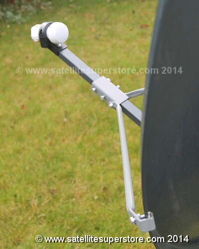 Primesat feed support arm side stabilisers