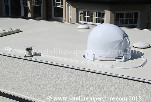 Maxview VuQube II on roof with optional roof kit fitted.