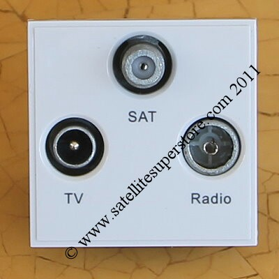 Triax TV, radio and satellite triplexed MODULAR screened outlet plate