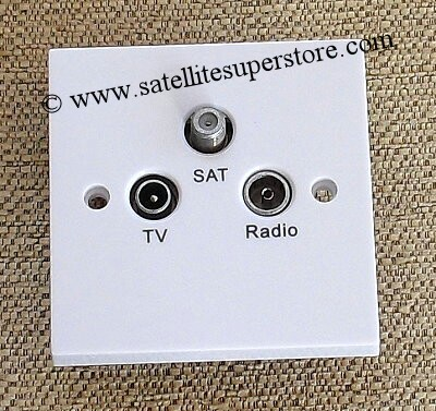 Triax TV, radio & satellite triplexed outlet plate