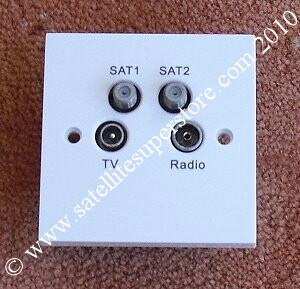 Triax TV, radio and twin satellite quad outlet plate